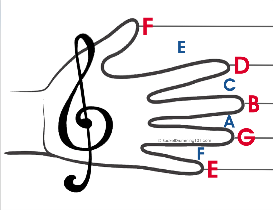 "picture of a hand with fingers spread.  The thumb is labeled ""E,"" the index finger is G, the middle finger is B, the ring finger is D and the pinkie is F.  The space between the thumb and the index finger is F, and the rest of the spaces between the fingers are labeled A, C, E.  the thumb is pointing down and the little finger is near the top of the picture."