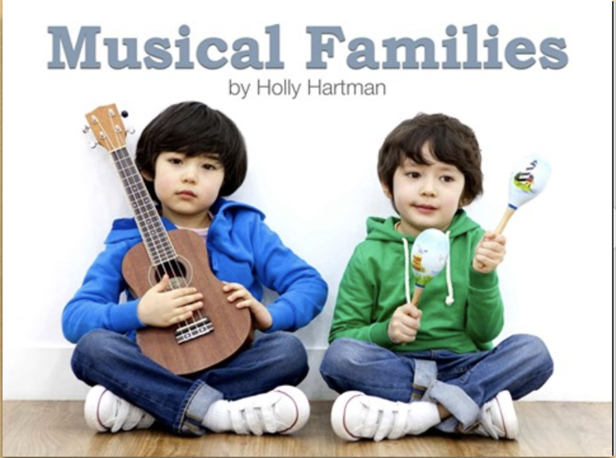 Two children holding music instruments